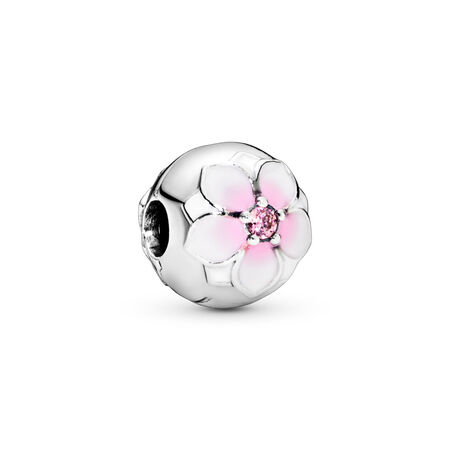 Fleur de magnolia, émail cerise pâle et cz rose, Argent sterling, émail, Rose, Zircon cubique - PANDORA - #792078PCZ