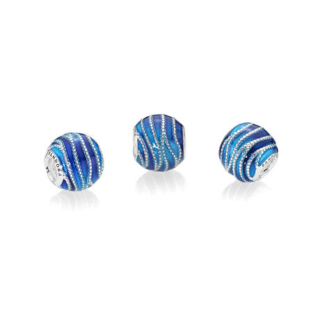 Blue Swirls Charm, Mixed Enamel