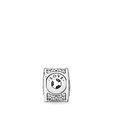 LOVE, Clear CZ, Sterling silver, Silicone, Cubic Zirconia - PANDORA - #796084CZ