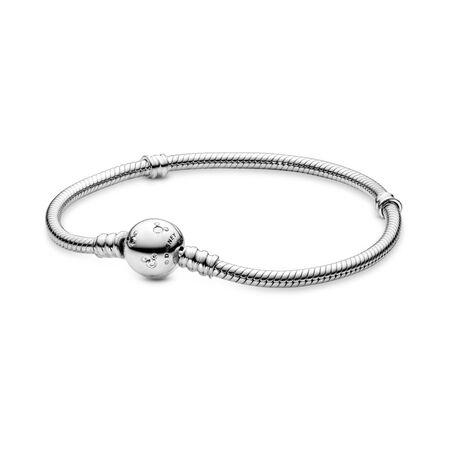 Disney, Moments Sparkling Mickey Mouse & Snake Chain Bracelet, Sterling silver, Cubic Zirconia - PANDORA - #590731CZ