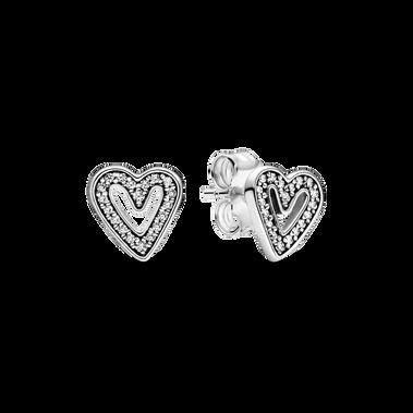 Boutons d'oreilles scintillants en cœur dessiné à la main