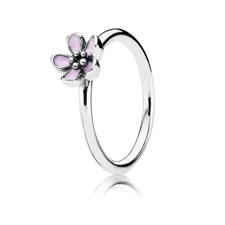 Cherry Blossom Stackable Ring, Pink Enamel, Sterling silver, Enamel, Pink - PANDORA - #190879EN40