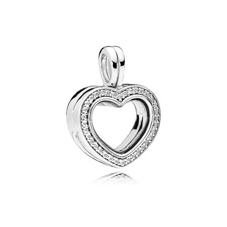 Sparkling PANDORA Floating Heart Locket Charm, Clear CZ