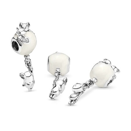 Mouse & Balloon Dangle Charm, Pearlescent Enamel