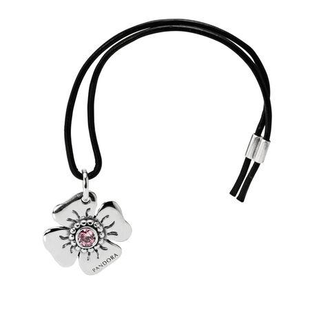 Ouvre-clips marguerite, cz rose poudré, Argent sterling, Cuir, Rose, Zircon cubique - PANDORA - #890000PCZ