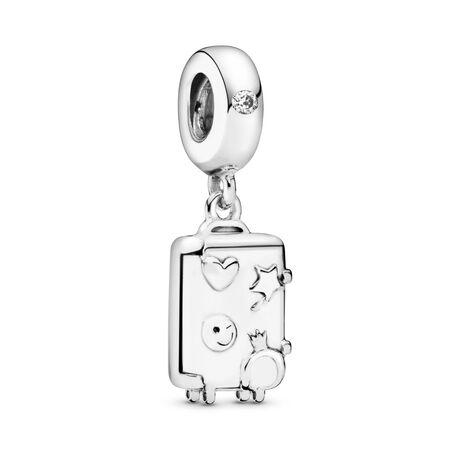 Charm-pendentif Valise, Argent sterling, émail, Rose, Zircon cubique - PANDORA - #797887EN160