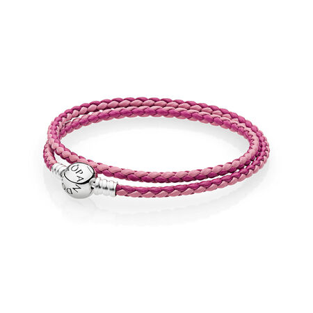 Mixed Pink Woven Double-Leather Charm Bracelet, Sterling silver, Leather, Pink - PANDORA - #590747CPMX-D