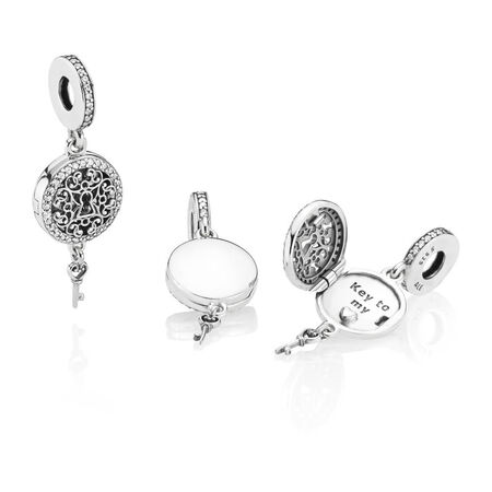 Regal Love Key Dangle Charm, Clear CZ