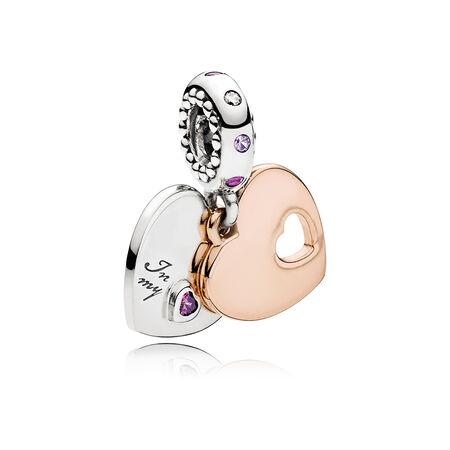 Charm pendentif Tu fais partie de mon cœur, PANDORA Rose, cristaux rose pâle et lilas, cz incolore