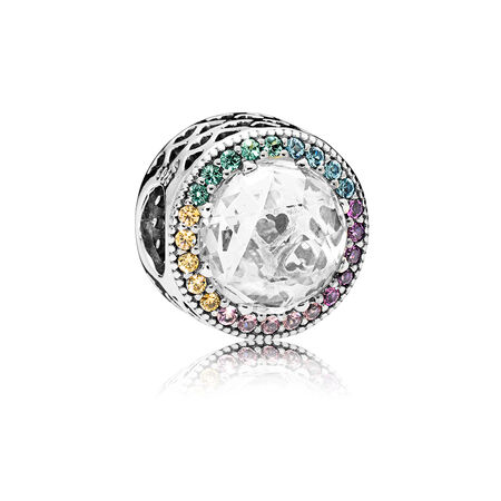 Multi-colour Radiant Hearts Charm, Multi-coloured CZ