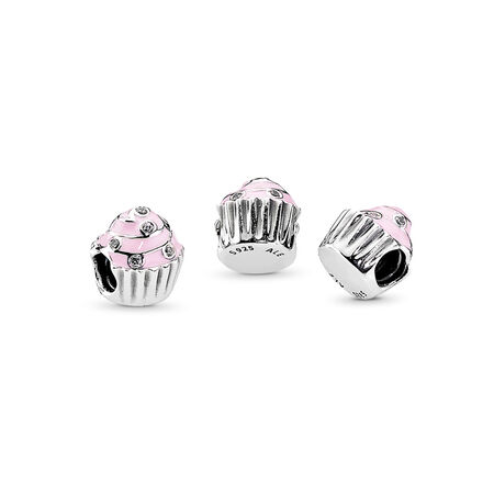 Sweet Cupcake, Light Pink Enamel & Clear CZ