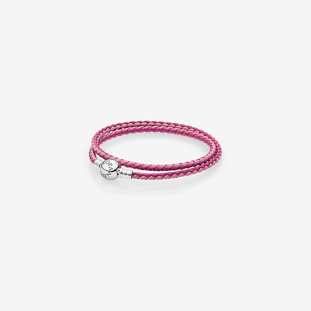 bracelet pandora cuir rose simple