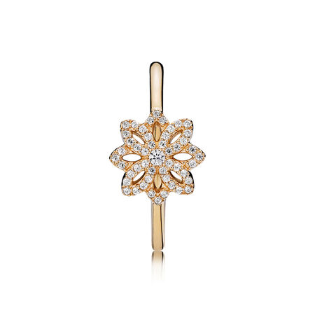 Lace Botanique Ring, 14K Gold & Clear CZ, Yellow Gold 14 k, Cubic Zirconia - PANDORA - #150182CZ