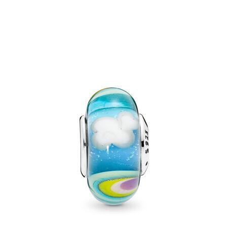 Charm Arc-en-ciel iridescent en verre de Murano