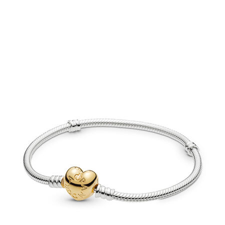 Bracelet de charms classique avec fermoir en cœur en PANDORA Shine