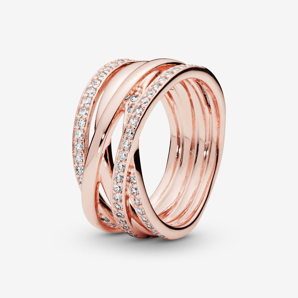 Bague lignes brillantes et scintillantes   Plaqué or rose ...