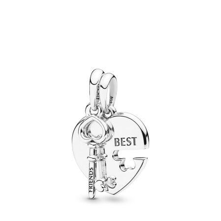 Limited Edition Best Friends Heart & Key Split Pendant