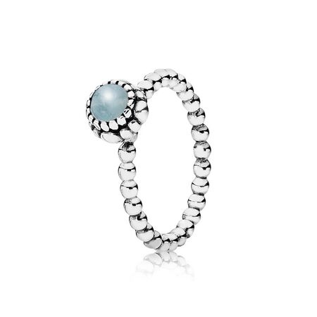 Silver ring, birthstone-March, aquamarine