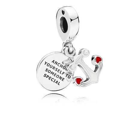 Charm pendentif Ancre d'amour, émail rouge et noir