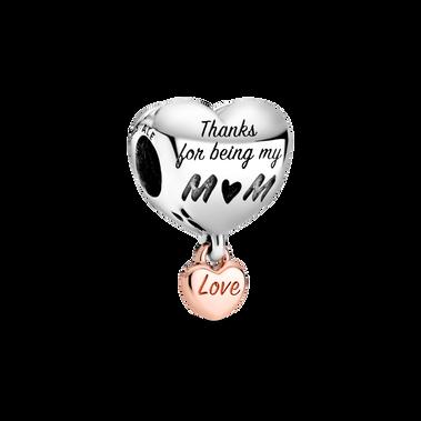 Love You Mom Heart Charm