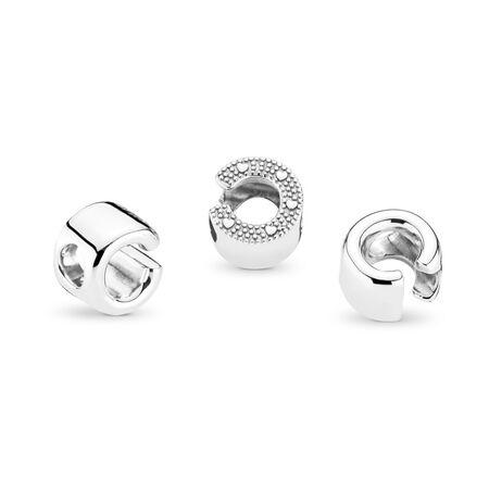 Letter C Charm, Sterling silver - PANDORA - #797457