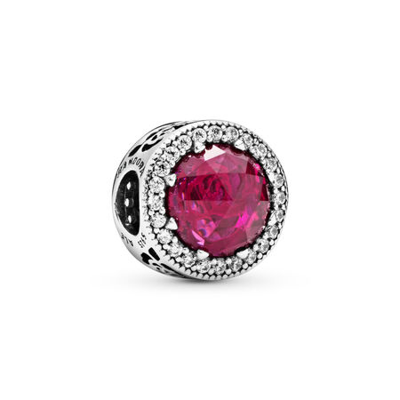 Disney, Belle's Beauty and the Beast Pink Rose Charm, Sterling silver, Pink, Mixed stones - PANDORA - #792140NCC