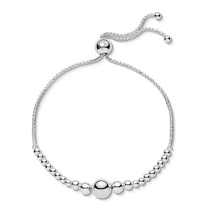 String of Beads Sliding Bracelet, Sterling silver, Silicone - PANDORA - #597749