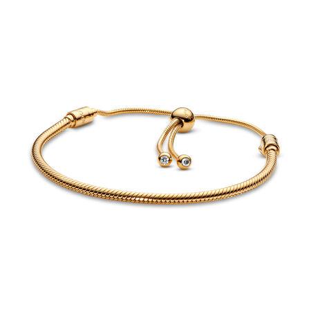 PANDORA Shine™ Sliding Bracelet, 18ct gold-plated sterling silver, Silicone, Cubic Zirconia - PANDORA - #567110CZ