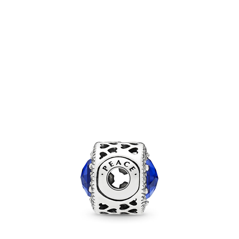 030fdfe63 PEACE Charm, Royal Blue Crystals & Clear CZ, Sterling silver, Silicone, Blue
