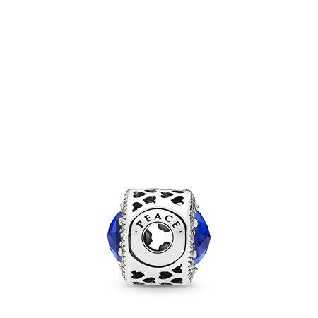 Charm Pavé de paix, cristaux bleu royal et cz incolore
