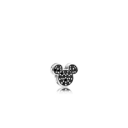 Disney, Sparkling Mickey Icon Petite Charm, Black Crystal