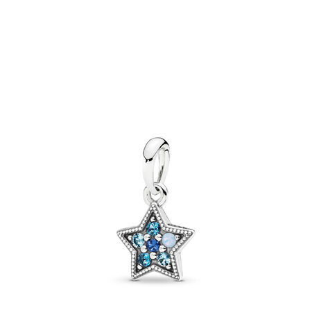Bright Star Dangle Charm, Multi-Colored Crystals, Sterling silver, Blue, Crystal - PANDORA - #396376NSBMX