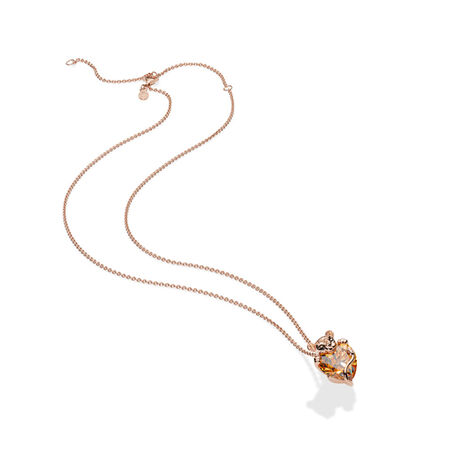 Sparkling Lion Princess Heart Pendant with Chain