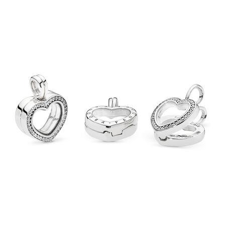 Sparkling PANDORA Floating Heart Locket Charm, Clear CZ, Sterling silver, Glass, Cubic Zirconia - PANDORA - #797248CZ