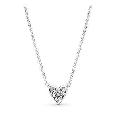 Heart of Winter Collier Necklace, Clear CZ, Sterling silver, Cubic Zirconia - PANDORA - #396370CZ
