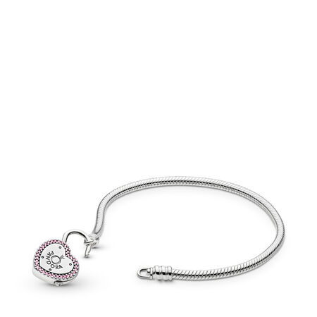 Lock Your Promise Bracelet, Fancy Fuchsia Pink & Clear CZ, Sterling silver, Pink, Cubic Zirconia - PANDORA - #596586FPC