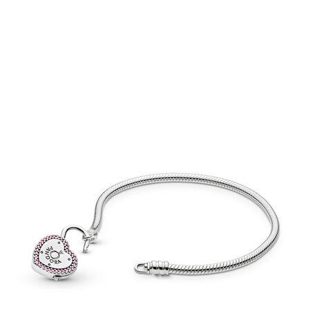Moments Heart Padlock & Snake Chain Bracelet, Sterling silver, Pink, Cubic Zirconia - PANDORA - #596586FPC