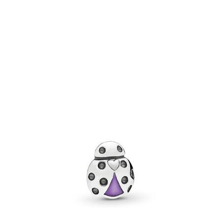 Mini Coccinelle, Argent sterling, émail, Mauve, Aucune pierre - PANDORA - #797050EN159