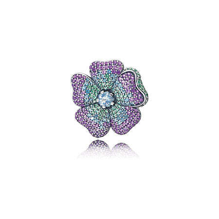Glorious Bloom Pendant Brooch, Multi-coloured CZ