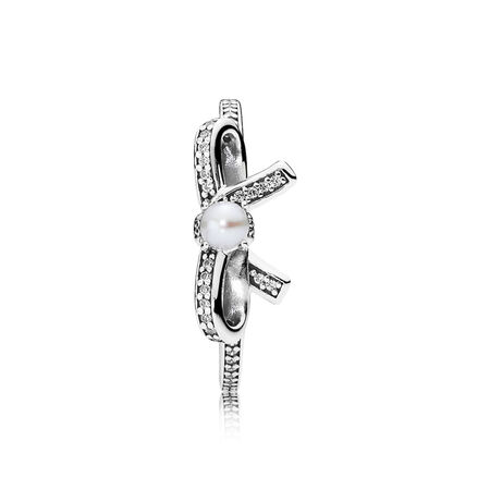 Delicate Sentiments, White Pearl & Clear CZ, Sterling silver, Mixed stones - PANDORA - #190971P