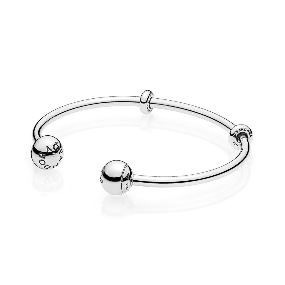 open bangles signature pandora silver bangle bracelet rose en sterling