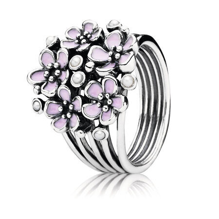Cherry Blossom Bouquet, Pink Enamel & White Pearl, Sterling silver, Enamel, Pink, Freshwater cultured pearl - PANDORA - #190878EN40