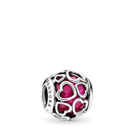 Au cœur de l'amour, cristal cerise, Argent sterling, Aucun autre matériel, Rose, Cristal - PANDORA - #792036NCC