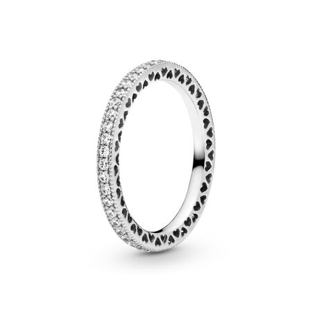 Hearts of PANDORA, Clear CZ, Sterling silver, Cubic Zirconia - PANDORA - #190963CZ