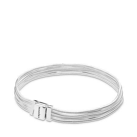 Bracelet de charms à multichaînes serpentines Pandora Reflexions, Argent sterling, Aucun autre matériel, Aucune couleur, Aucune pierre - PANDORA - #597943-21