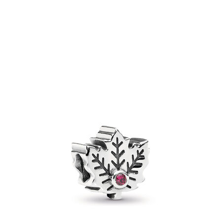 Maple Leaf, Synthetic Ruby, Sterling silver, Grey, Synthetic Ruby - PANDORA - #791215SRU