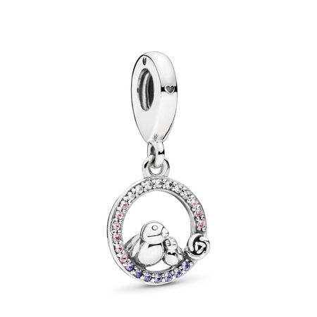 Mother & Baby Bird Dangle Charm, Soft Pink & Lilac Crystals & Clear CZ