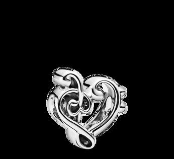 Charm avec clé de sol en cœur
