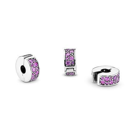 Élégance brillante, cz violet fantaisie, Argent sterling, Silicone, Mauve, Zircon cubique - PANDORA - #791817CFP