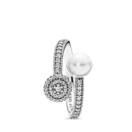 Luminous Glow, White Crystal Pearl and Clear CZ, Sterling silver, White, Mixed stones - PANDORA - #191044CZ